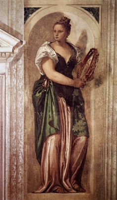 VÉRONÈSE - FRESCOES AT VILLA BARBARO, MASER (1560-1561) - Sala a Crociera: Muse with Tambourine (north wall of the eastern transept).
