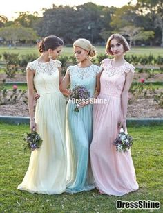 Elegant Floral chiffon lace with short sleeves modest long Pastel bridesmaid dress - Bridesmaid Dresses - Weddings