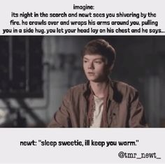 Imagine: Newt is talking to the people who were in the other mazes ...
