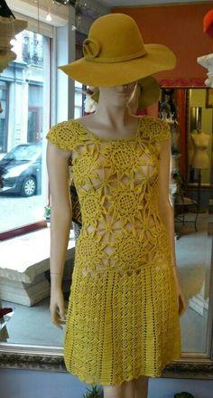 Chorrilho de ideias: Vestido amarelo em crochet