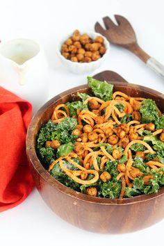 Vegan Kale and Sweet Potato Noodle Caesar Salad with Crispy Spiced Chickpeas