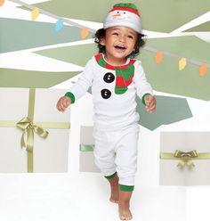 Avon: Tiny Tillia Snowman PJ. PJ top and bottom plus a warm snowman-face hat. Cotton. Machine wash. Imported.