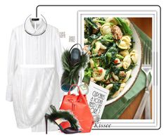 """Spicy sausage & rapini pasta"" by kisses4u ❤ liked on Polyvore featuring Magda Butrym, Farrow & Ball, LulusimonSTUDIO, Movado, Jennifer Fisher, Fendi, Opening Ceremony, Anita Ko, food and foodie"