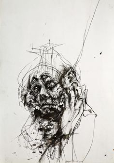 Milan Nenezic, unknown title, medium, size and date Creepy Drawings, Dark Art Drawings, Arte Horror, Horror Art, Schizophrenia Art, Arte Grunge, Scribble Art, Arte Obscura, Arte Sketchbook
