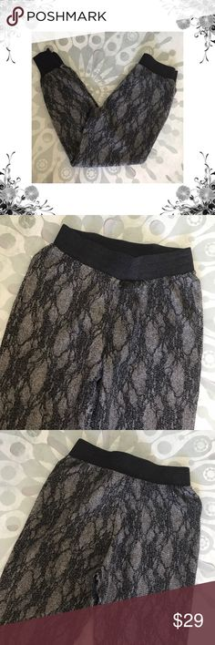 """{HUE} Gray Floral Lace Print Joggers Waist across measures approx 13"""". Front Rise is approx 11"""". Inseam is approx 27"""". Nylon/Acrylic/Polyester body. Cotton/Poly/Spandex trim. Floral lace print. Bundle for discounts! Thank you for shopping my closet! Bin 41 HUE Pants Track Pants & Joggers"""