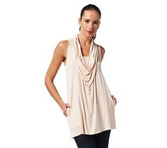 LOGO by Lori Goldstein Cowl Neck Tank Top with Pockets in petal pink would be perfect for summer with a light cardigan or bolero