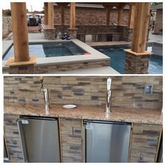 Kegerator Design Ideas, Pictures, Remodel, and Decor | Outdoor oasis on backyard spa, outdoor swimming pool with spa, small garden spa,