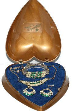 Sold - Coro Faux Pearl Green Rhinestone Necklace Bracelet Earrings Set 1950's from luminousbijoux on Ruby Lane