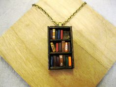 Absolutely LOVE this!!  Antique Bookshelf Necklace  Book Jewelry by by Coryographies, £25.00
