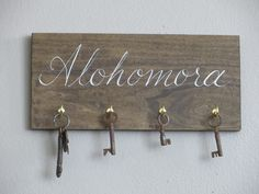 hand painted HARRY POTTER alohomora spell key rack holder sign house warming gift by BurnedOutHalos on Etsy