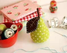 Pear pincushion by Retro Mama