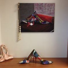 Carlos Santana pumps ... My favorite and obvious inspiration. Perfect fit for my closet! Acrylic on canvas