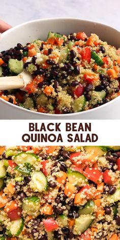 Quinoa Recipes Easy, Bean Salad Recipes, Veggie Recipes, Whole Food Recipes, Vegetarian Recipes, Cooking Recipes, Quinoa Dinner Recipes, Healthy Black Bean Recipes, Easy Bean Recipes