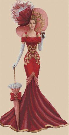 PDF Cross-stitch chart Elegant Lady No. 156 yy PDF Cross-stitch chart Elegant Lady No. Anchor Threads, Afrique Art, Decoupage Vintage, Fashion Design Drawings, Victorian Women, Elegant Woman, Designs To Draw, Cross Stitching, Fashion Art