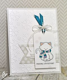 Meowy Christmas from Joyful Creations with Kim.  Stamps by Newton's Nook.