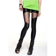 Slimming PU Splice Voile Women's Legging