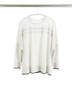 Tipped Tee, Dove Grey/Navy, 100% Fine Worsted Mongolian Cashmere | Paychi Guh