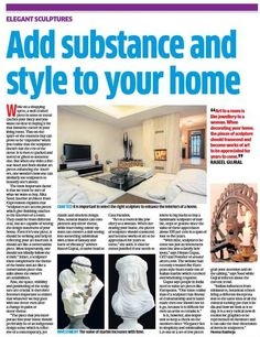 Art to a room is like #Jewellery to a #Woman. When #decorating your #home, the pieces of sculpture should transcend and become works of art to be appreciated for years to come. #RaseeGujral #DeccanHerald #Casa #CasaParadox #Design #Designer #Decor