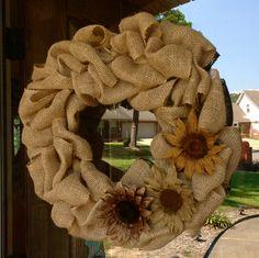 Fall burlap wreath ... Love the burlap flowers!