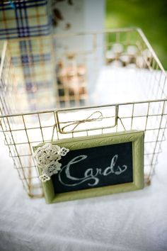 I love to leave our greeting cards out for awhile after we've received them. This is an awesome way to keep them on display, and then when the basket's full, it's time to clean it out.