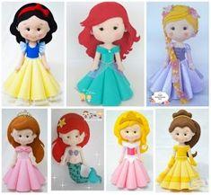 Doll Sewing Patterns, Felt Patterns, Sewing Dolls, Disney Diy, Baby Disney, Felt Diy, Felt Crafts, Disney Princess Set, Unicorn Doll