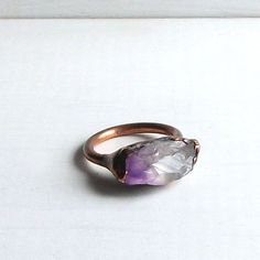 Raw Amethyst Crystal Electroformed Ring Violet Cocktail Birthstone Ring February Gemstone Ring Purple Violet Plum Rough Stone Ring