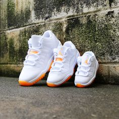 Orange Jordan 11 for the whole family. Share if this is perfect! Kids Sneakers, Sneakers Nike, Orange Jordan, Family Share, Jordan 11, Nike Huarache, Kids Wear, Air Jordans, Footwear