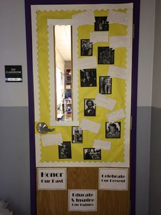Door decorations for Black History Month. Students wrote quotes from each photographed person on the & Door Decor for Black History Month | My Classroom | Pinterest ...