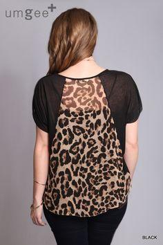 Black Leopard Back Top
