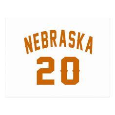 #Nebraska 20 Birthday Designs Postcard - #giftidea #gift #present #idea #number #twenty #twentieth #bday #birthday #20thbirthday #party #anniversary #20th