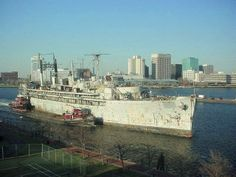USS Howard W. Gilmore AS16 on way to being scrapped.