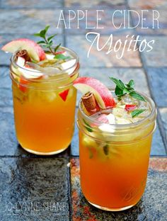 APPLE CIDER MOJITOS: Apples are everywhere this time of year, so why not use them in a cocktail?? The secret ingredient to this deliciously different cocktail is the Cinnamon Simple Syrup, don'€™t skip that step. Bottoms up! Click through for the recipe.   Jo-Lynne Shane