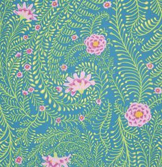 Kaffe Fassett Ferns Turquoise Cotton Fabric By The Yard Textile Patterns, Textile Prints, Print Patterns, Textiles, Pattern Designs, Blue Crafts, Free Spirit Fabrics, Quilt Material, Sewing Studio