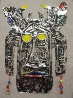 36 gauge aluminum tooling foil, popsicle sticks, india ink, acrylics and/or permanent markers, and embellishments