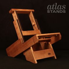 Cherry Studio Atlas Amp Stand for a Twin reverb or Milkman Creamer amplifier.  DIY: http://atlas-stands.com/twin-reverb-milkman-creamer-studio-amp-stand-cherry/  www.atlas-stands.com