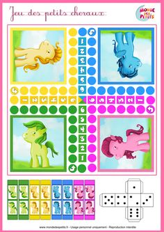 Paardenspel, free printable / Le jeu des petits chevaux Free Games For Kids, Diy For Kids, Activities For Kids, Crafts For Kids, Math Board Games, Board Games For Kids, Kids Board, Coloring For Kids, Coloring Books