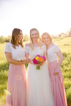 Sunset summer wedding with two piece bridesmaid separates. Lace tops with pretty in pink chiffon skirts. Ivory tulle skirt and off the shoulder tops by Love Tanya Two Piece Bridesmaid Dresses, Bridesmaid Tops, Bridesmaid Separates, Designer Bridesmaid Dresses, Wedding Bridesmaids, Wedding Dresses, Wedding Styles, Wedding Photos, Wedding Ideas