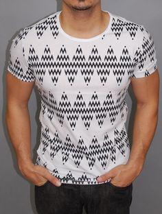 P&V Men Graphic Waves T-Shirt - White