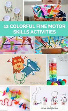 Practice fine motor skills with toddlers or preschoolers with these bright colorful activities!