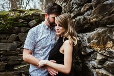 Cute couple cuddle near old abandoned paper mill ruins in forest | Outdoor Adventure Photo Shoot | Sope Creek Trail | Elyse Jankowski Photography | Atlanta Georgia Wedding & Engagement Photographer