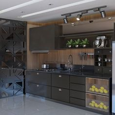 Image may contain: kitchen and indoor Kitchen Cabinet Inspiration, Kitchen Cupboard Designs, Kitchen Design Open, Interior Design Kitchen, Modern Grey Kitchen, Modern Kitchen Cabinets, Contemporary Kitchen Design, Home Decor Kitchen, Kitchen Living