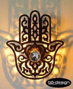 luminaire design MAIN de FATIMA 30x25 cm noir verre acrylique plexiglas brillant, luminaire applique ombre portée : Luminaires par bo-design-concept