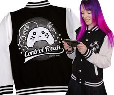 Control Freak varsity jacket with a game controller design. Black & white college jacket for geeks, gamers & video game addicts! Mens & ladies sizes. UK shop - fast delivery.