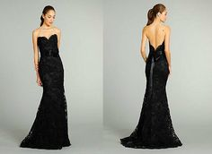 Long Mermaid Black Lace Evening Cocktail Formal Prom Party Dresses Wedding Gown