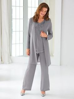 Duster Pants Set By Koret® - <p> All eyes on you when you wear this lovely three-piece set. Jacket has leaf embroidery and beading. Shoulder pads, shaping seams and hook and eye