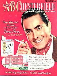 Tyrone Power for Chesterfield Cigarettes Vintage Advertisements, Vintage Ads, Vintage Prints, Vintage Posters, Retro Ads, Tyrone Power, Magazine Ads, Print Magazine, Magazine Covers