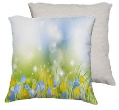 Sparkling , Green and Blue Dandy Lion Flowers Pillow