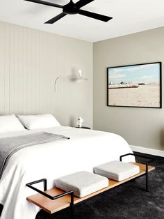 Crisp Bedroom With White Bedding, A Modern Bench, And Framed Photography  Australian Homes,