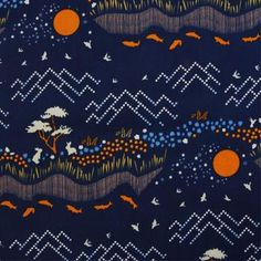 This fabric features scenes of nature in a quirky and whimsical manner. The navy blue base creates a contrast for the lovely orange colour. Try it as cushion, c Orla Kiely Fabric, Marimekko Fabric, Designers Guild, Japanese Fabric, Fabric Online, Fabric Swatches, Orange Color, Colour, Blackberry