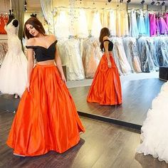 Am18 black and orange prom dresses,two pieces prom dresses,floor-length prom dresses,sweetheart evening dresses